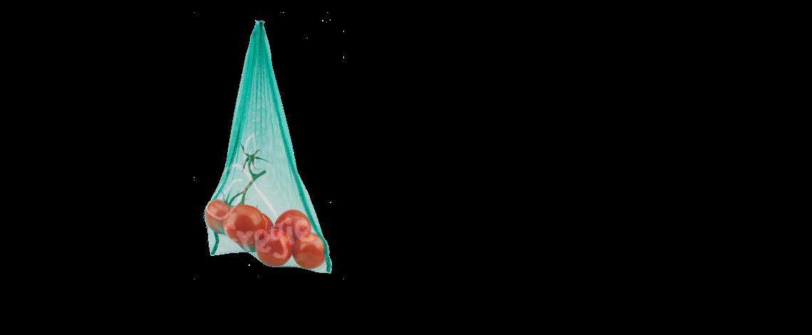 Umweltfreundlicher Fregie mit Tomaten - die wiederverwendbare Obst- und Gemüsetasche