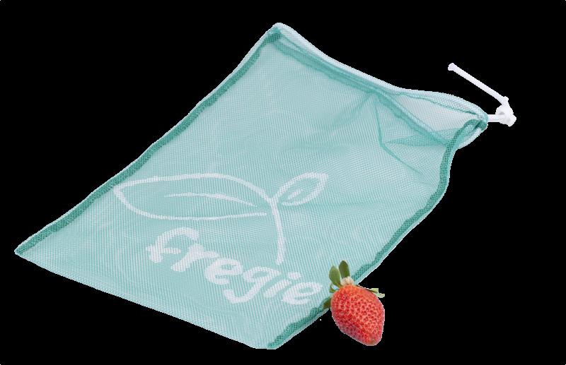 Fregie mit einer Erdbeere - der wiederverwendbare Obst- und Gemüsebeutel